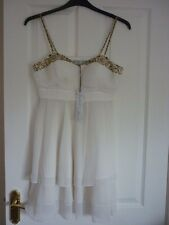 Red Herring Spec Ed Ivory Embellished Strappy Party Dress UK 12 EUR 40 US 8