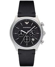 NWT Emporio Armani Men's Chronograph Zeta Black Leather Strap Watch 43mm AR1975