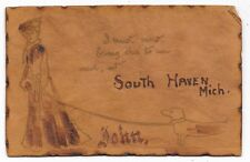 ANTIQUE UDB LEATHER POSTCARD PRETTY LADY WEINER DOG PUPPY SOUTH HAVEN MI 1906