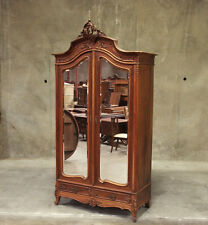 Large Antique French Walnut Louis XV 2 Door Armoire Wardrobe Cabinet