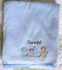 Child of Mine Blue Polyester Plush Sweet Baby Boy Blanket w Elephant & Giraffe