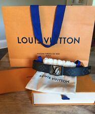 Louis Vuitton Hockenheim Eclipse Monogram Cuff Bracelet Initiales RARE Gray Blk