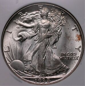 1938 D WALKING LIBERTY HALF DOLLAR NGC MS 64 SHIMMERING WHITE LUSTROUS SEMI KEY