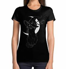 Black Witches Cat with Hat Halloween Women's T-Shirt