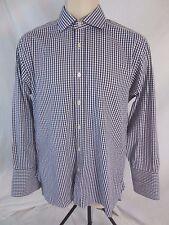 Charles Tyrwhitt Mens 15 1/2  French Cuff Blue White Check Dress Shirt CB18D