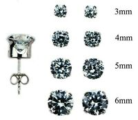 925 Sterling Silver Round Stud Set of 4 Earrings (3mm, 4mm, 5mm, and 6mm)