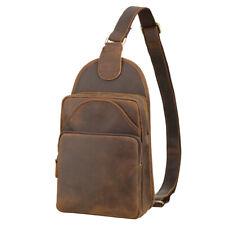 Vintage Men Leather Sling Bag Chest Pack Sport Bag Shoulder Bag Sling Backpack