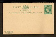 Gibraltar Postal Card - H&G #18 Mint VF - 1889 5 Centimos Queen Victoria