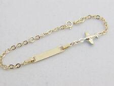 14k yellow gold baby id bracelet 5.5 inch  adjustable baby bracelet