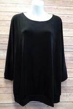CHICOS TRAVELERS 2 Black 3/4 Dolman Sleeve Slinky Stretch Blouse Shirt Top