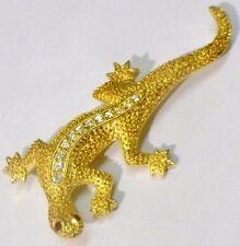 broche bijou couleur or cristaux diamant rubis salamandre porte bonheur 2637