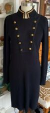 RALPH LAUREN LRL Nautical Sweater Dress Knit ribbed Sz M gold button Military
