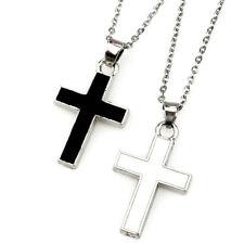 "Enamel Black White Cross Charm Faith Pendant Necklace 18"""