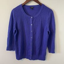Talbots Purple Cardigan Sweater Size LP Long Sleeves Button Down B3