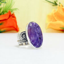 50-Cts  Natural Charoite Fine Handcrafted Silver Plated Ring Size  =US-8.50