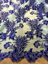 """LT BLUE MUSH W/ROYAL VELVET  EMBROIDERY SEQUINS FABRIC 50"""" WIDE 1 YARD"""