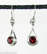 Ohrringe / Ohrhänger aus Silber mit echtem Granat / Handarbeit aus Silber 925