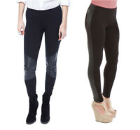 Womens Shiny Wet Leather Look Knee& Side Panel Viscose Leggings 8-10-12-14-16