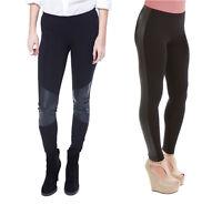 Womens Shiny Wet Leather Look Knee& Side Panel Viscose Leggings 8-10-12-14-16