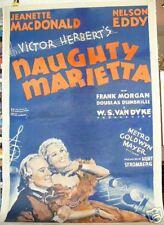 NAUGHTY MARIETTA Jeanette MacDonald '35 Linenbacked original movie poster
