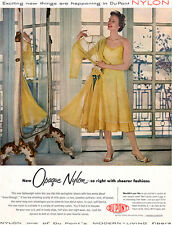 Yellow Slip Lingerie DU PONT OPAQUE NYLON Sheerer Fashions 1954 MAGAZINE AD