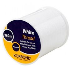 Korbond White Thread 160m Polyester Suitable for all Fabrics and Sewing Machines