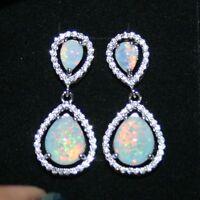 Created Opal Diamond Alternatives Dangle Earrings 14k White Gold Over 925 SS