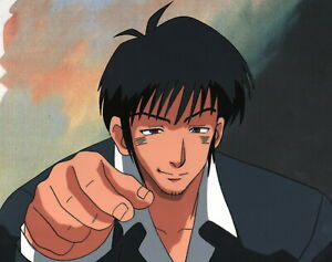 Trigun Production Cel #33 anime 1998 Wolfwood makes a pinch choice