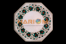 """12"""" Marble Coffee Table Top Malachite Floral Marquetry Inlay Bedroom Decors W381"""