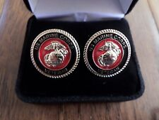 U.S Military Marine Corps Veteran Cufflinks With Jewelry Box 1 Set Usmc Boxed