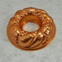 Copper Aluminum Jello Gelatin Mold Bunt Cake Kitchen Wall Hanging Art Fruit
