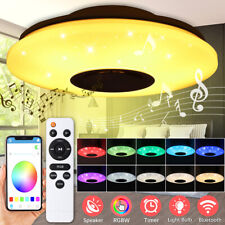 60W Dimmable RGB LED Ceiling Light bluetooth Music Speaker Lamp APP Remote