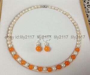 Natural 7-8mm White Akoya Cultured Pearl + orange topaz Necklace Earrings Set