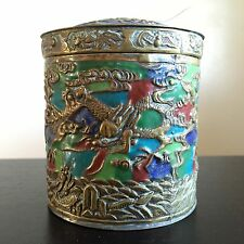 Fine Old Vintage Antique Chinese Brass Enameled Dragon Art Lidded Round Jar NICE