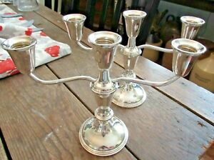 Elegant! Empire Sterling Silver Three Candelabra Candlestick Pair Weighted