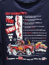 Jeff Foxworthy Top 10 Redneck Blue Size Large T Shirt Made in USA Single Stitch