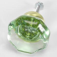4 Green Crystal Glass Knobs Kitchen Cabinet, Dresser Drawer Pulls Wardrobe T63