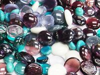 100 Glass Pebbles / Nuggets / Stones /Gems/ Mosaic Tiles - Purple Teal Mix