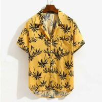 Mens Cotton Tropical Short Sleeve Floral Print Beach Casual Aloha Hawaiian Shirt
