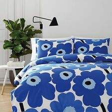 Marimekko 221459 Unikko 3 piece Comforter Set Blue, King New Flowers
