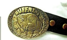 """Western Leather Belt with Buffolo Big Solid Brass Buckle 46.5"""" long Vintage"""
