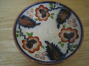 Antique Gaudy Dutch Welsh Cobalt and Iron Red Copper Luster Plate/Bowl