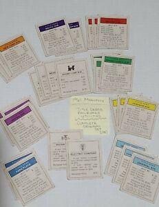VINTAGE 1961 MONOPOLY Property Deed/Railroads/Utilities Cards ORIGINAL Set Of 28