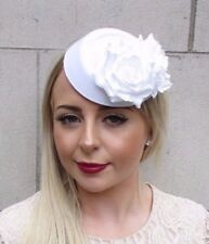 White Rose Flower Pillbox Hat Hair Fascinator Races Statement Vintage Clip 3862
