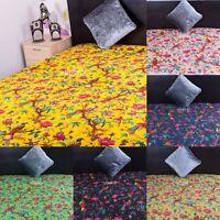 Fair Trade Bird Handmade Kantha Quilt Cotton Reversible Gudari Throw Bedspread
