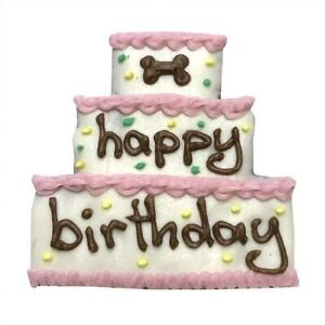 """1 Gourmet Dog Treat """"Birthday Cake"""" (2 Color Choices Pink, Purple) 3.5"""""""