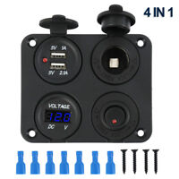 DC 12V-24V Car Cigarette Lighter Socket 2 USB Charger Voltmeter Switch Panel UK