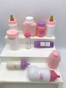 Toy Baby Bottle Lot Baby You and Me Bottles Powder Lot of 10 Pieces White Pink