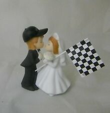 Wedding Party Ceremony Car Racing Flag Kissing Couple Cake Topper