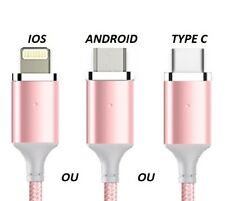 *Cable Charge Rapide Chargeur Micro Usb Nylon 1M ou 2M Samsung, iphone au Choix*